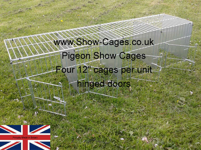 "12"" x 12"" x12"" pigeon show cages with hinged doors and solid divisions, cable ties to assemble or rings if required."