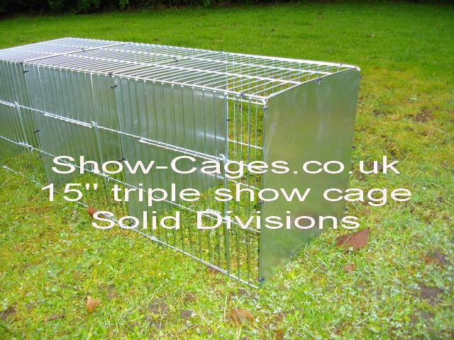 "Triple 15"" Rabbit Show cages with hinged doors, solid divisions and metal rings to assemble."