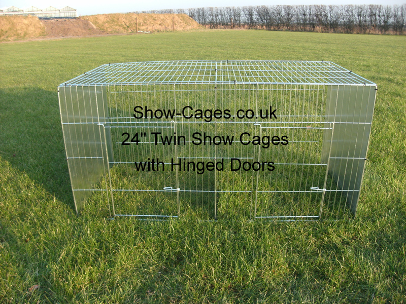 "24"" Twin Rabbit Show Pens with hinged doors & solid divisions"